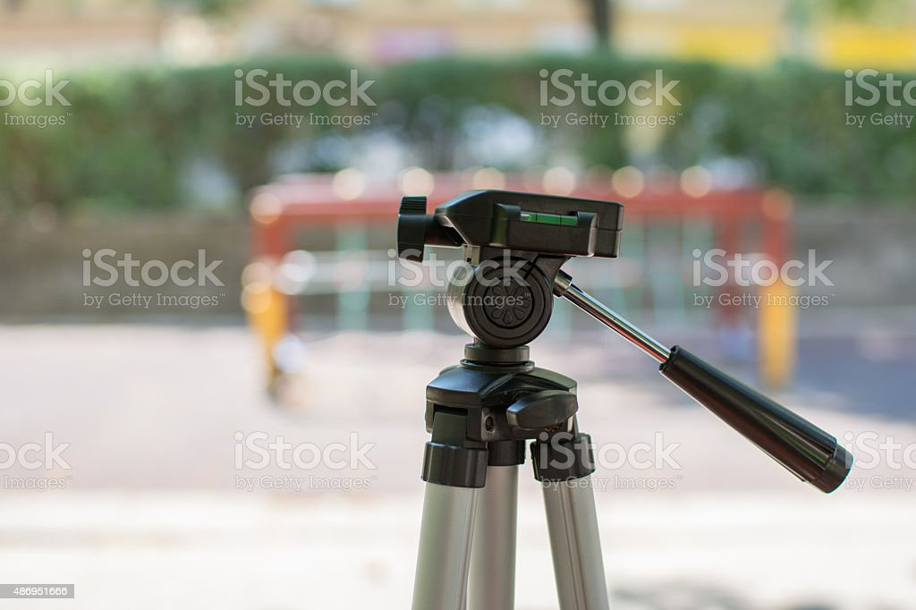 Camera tripod stock photo