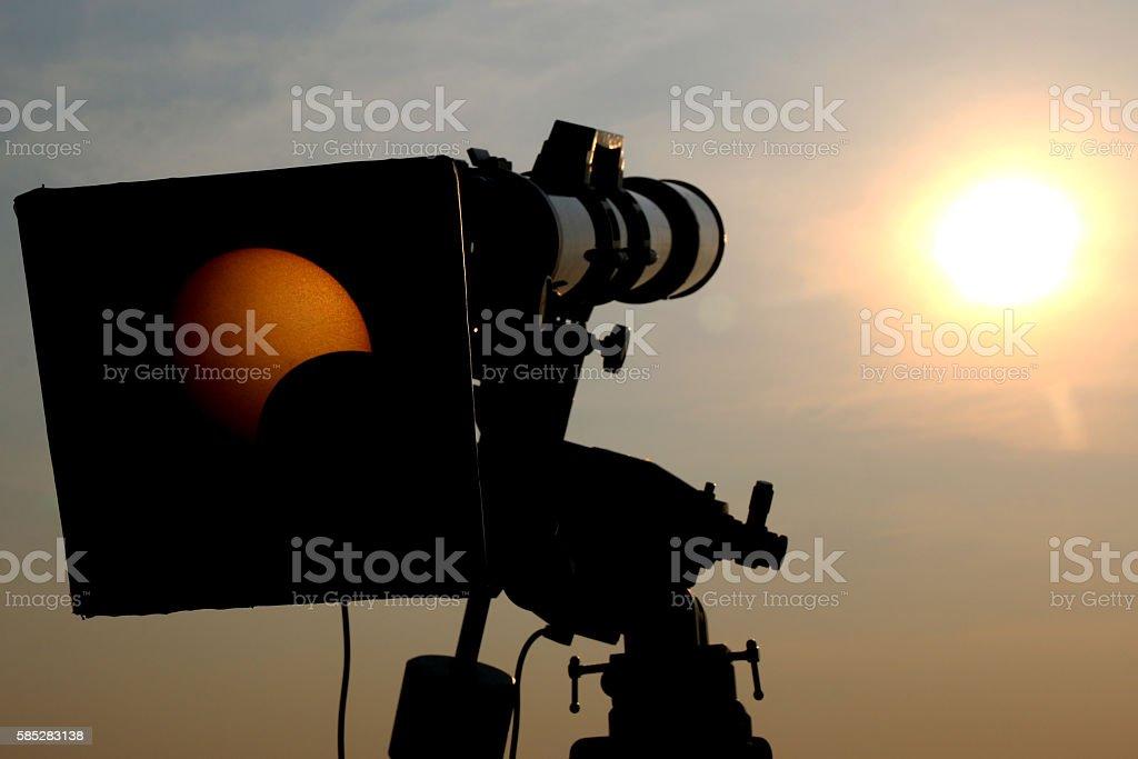 Camera view solar eclipse stock photo