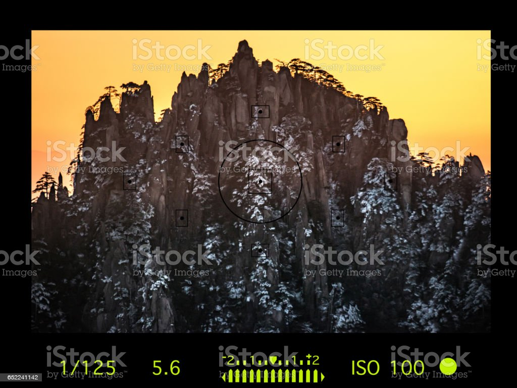 camera viewfinder with travel destination attraction. Huangsan mountain range, China stock photo
