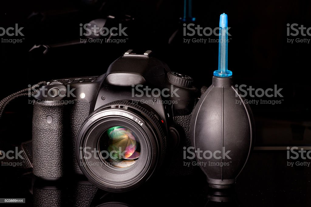 Camera with blower stock photo