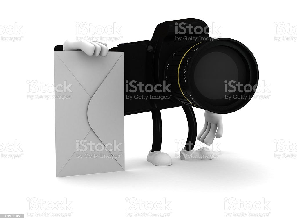 Camera with envelope royalty-free stock photo