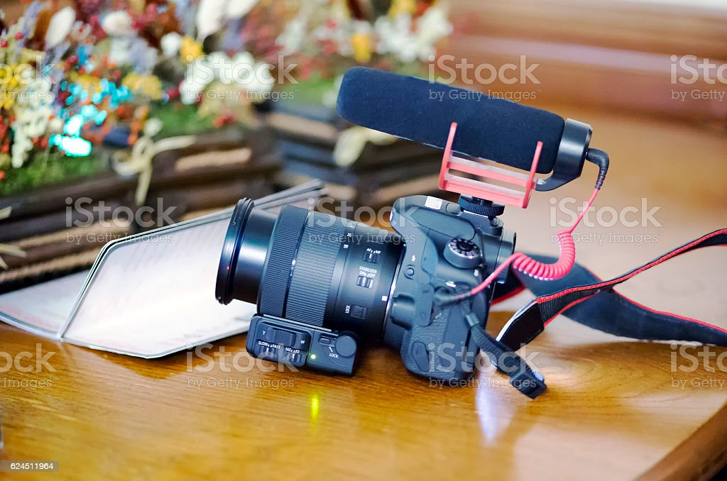 DSLR camera with microphone stock photo