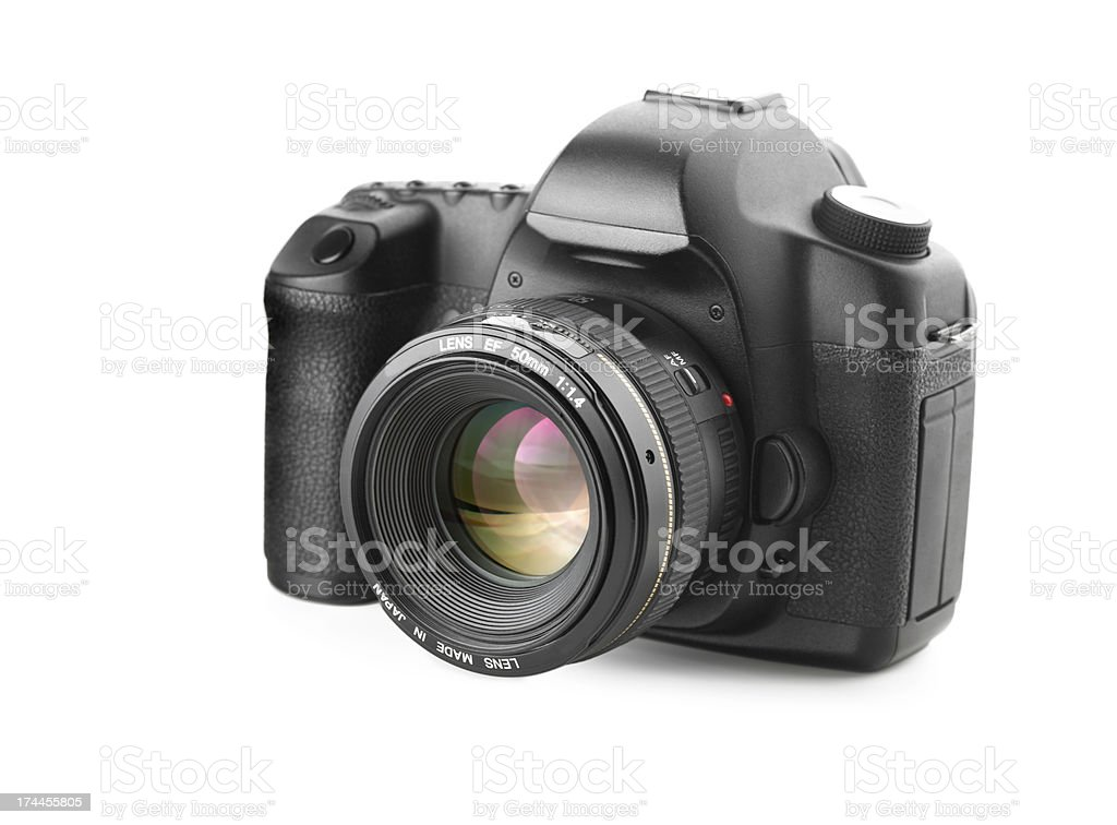 DSLR camera with mounted 50mm f1.4 lens on white background stock photo