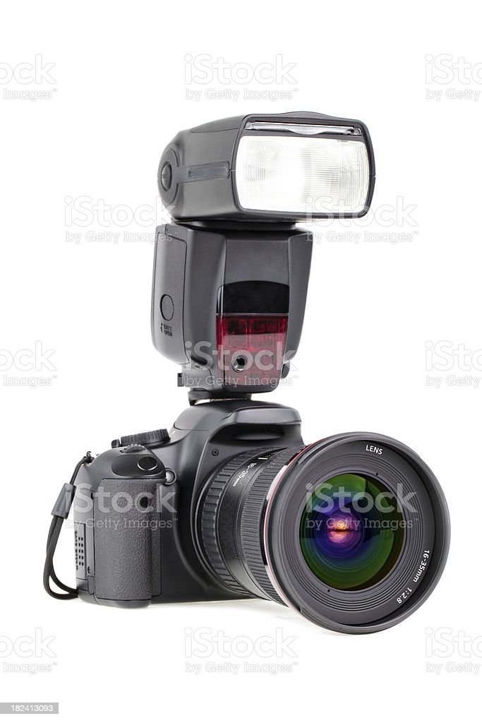 camera with zoom and flash (3/4) royalty-free stock photo