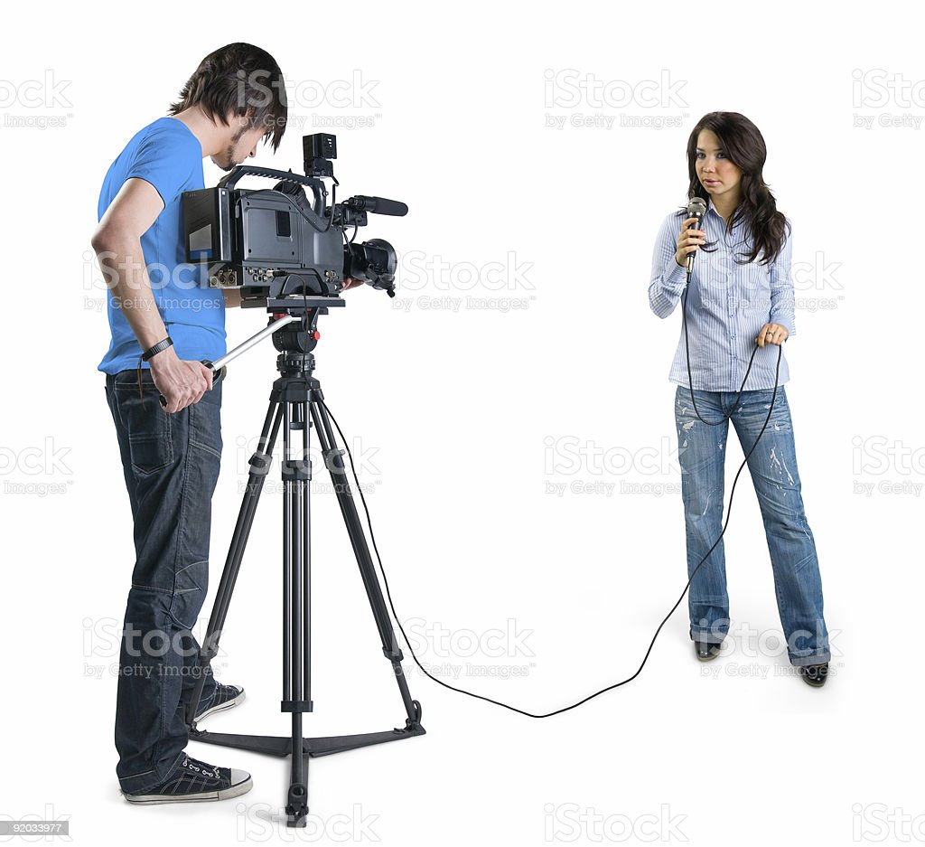 Cameraman filming a reporter, isolated on white background stock photo