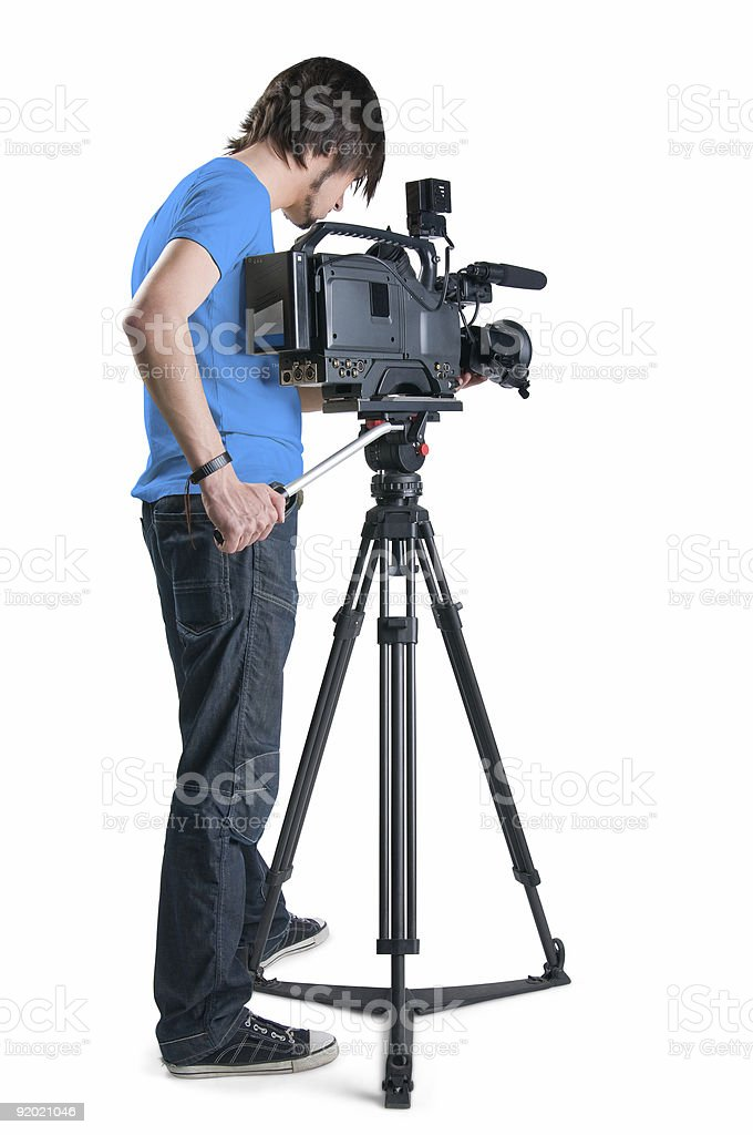 Cameraman in blue shirt isolated on white background royalty-free stock photo