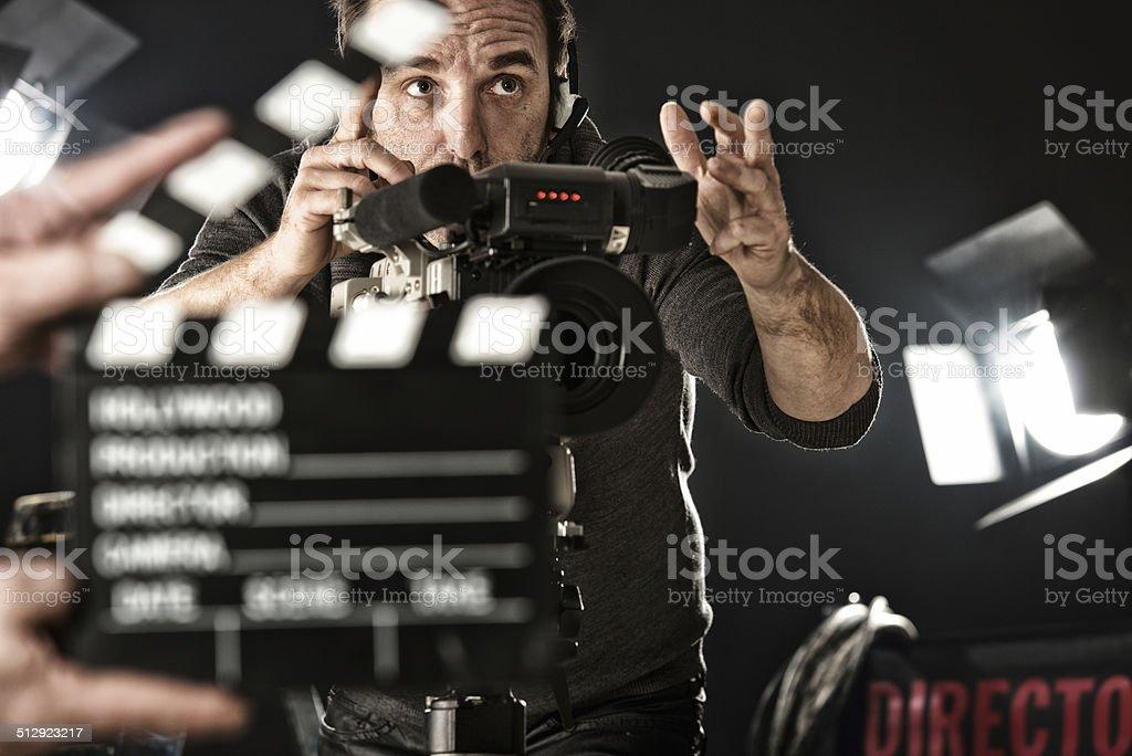 Cameraman on set stock photo