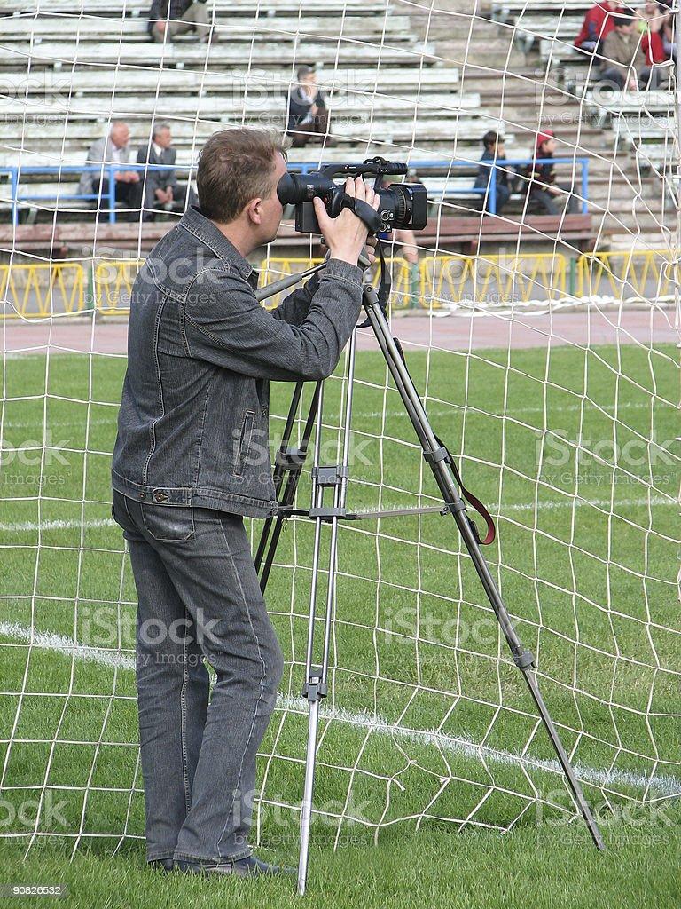 cameraman on soccer royalty-free stock photo