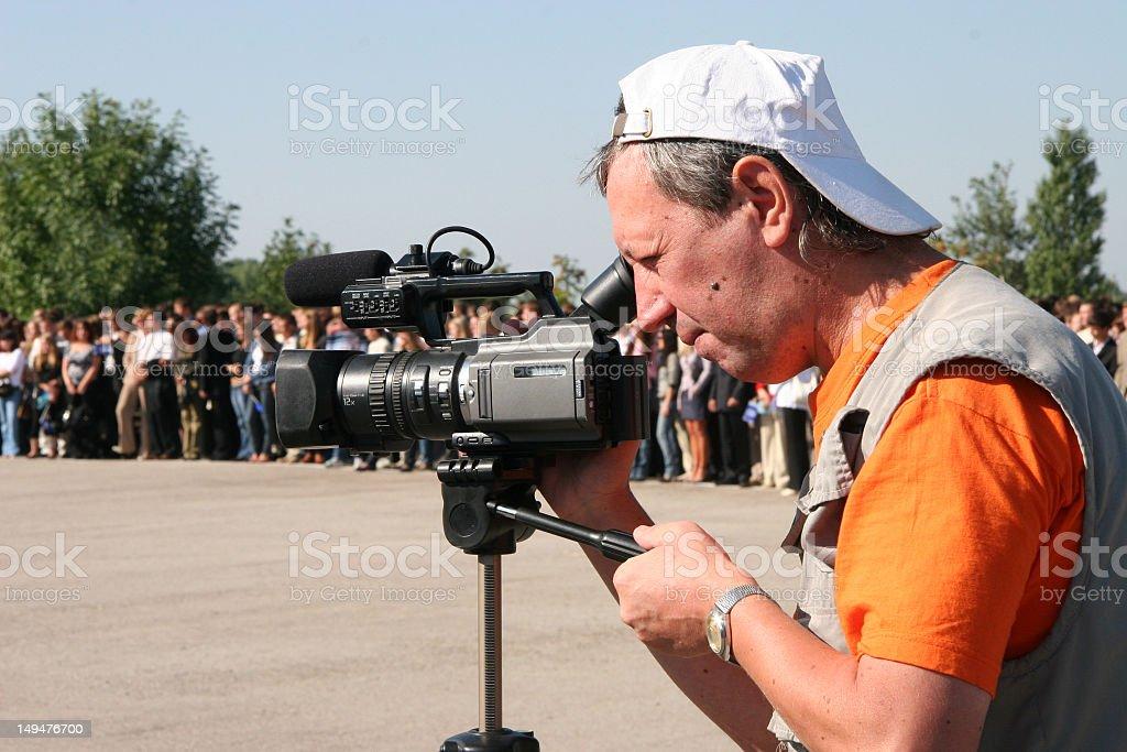 cameraman shoot a film. royalty-free stock photo