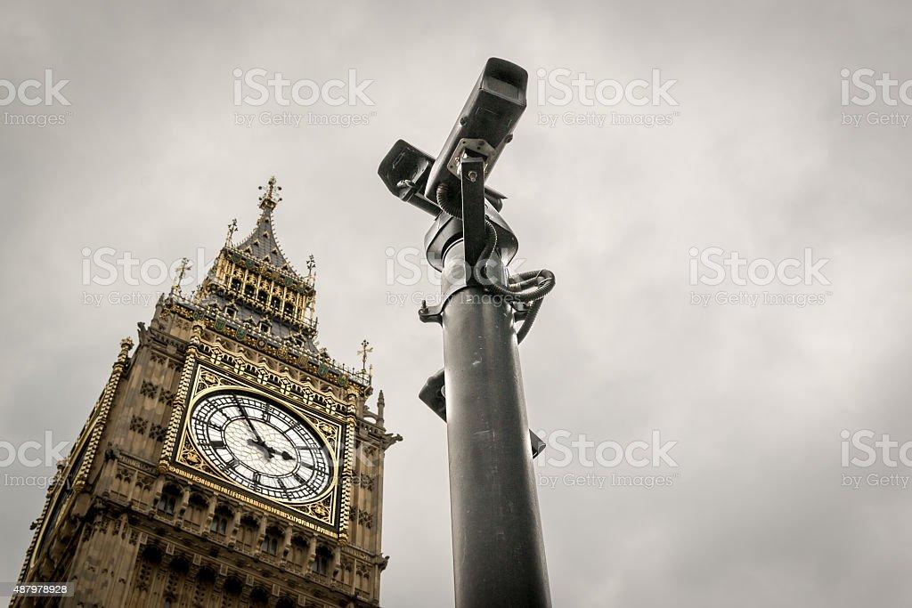 CCTV Cameras and Big Ben London Landmark stock photo