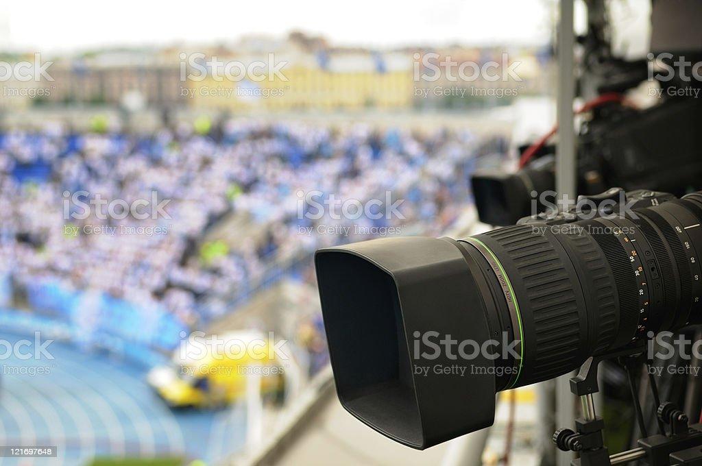 TV cameras at the stadium. royalty-free stock photo