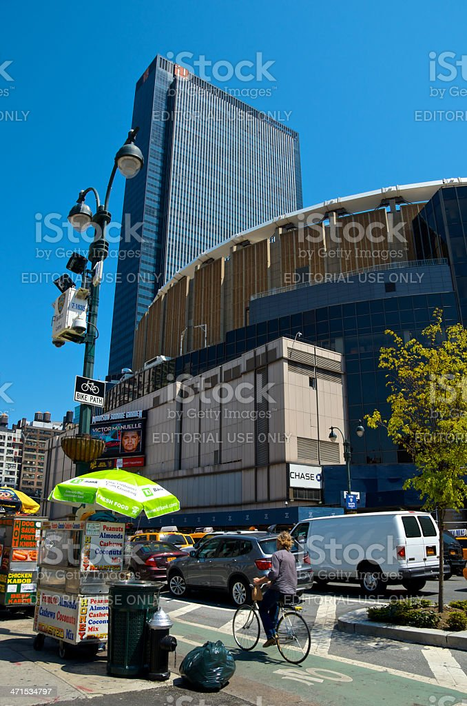 NYPD CCTV Cameras, Bicyclist, 8th Ave, Manhattan, New York City royalty-free stock photo