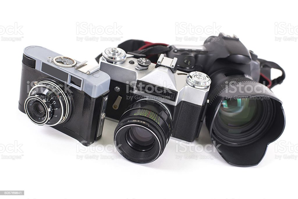 Cameras  isolated on white background royalty-free stock photo