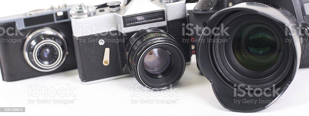 Cameras  isolated on white background stock photo