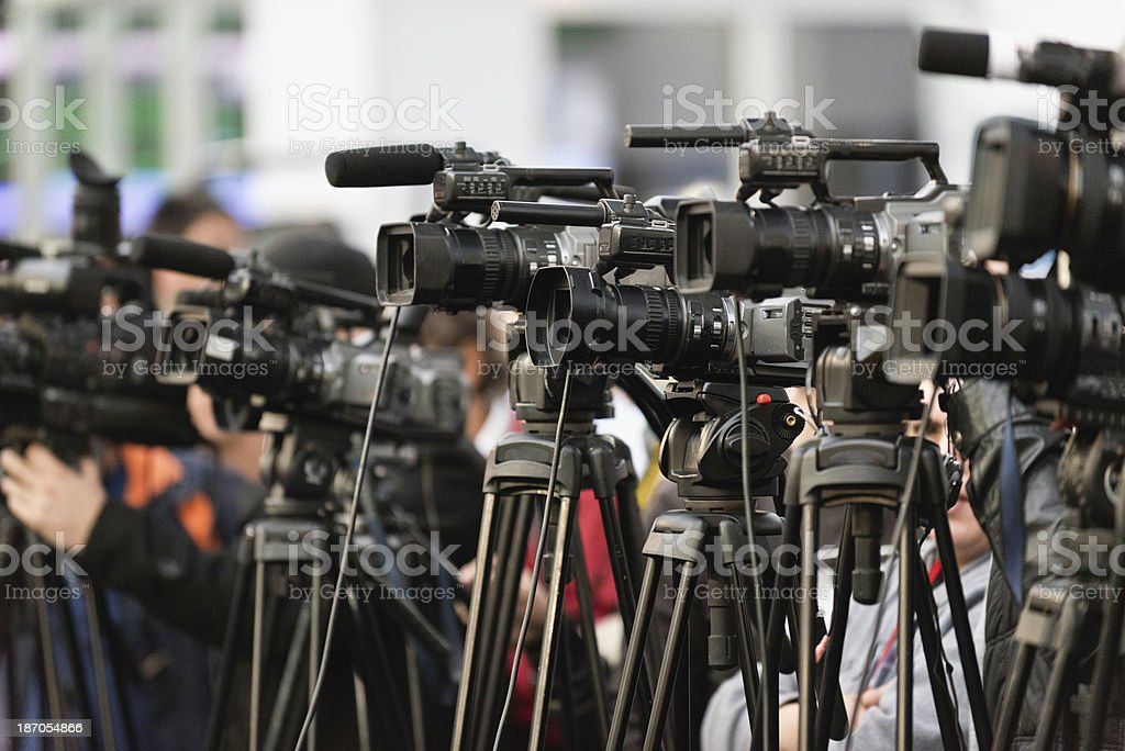 TV cameras stock photo