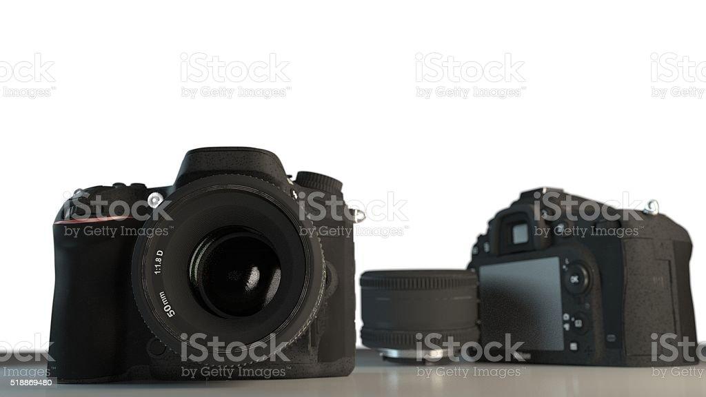DSLR cameras with lens 3d illustration stock photo