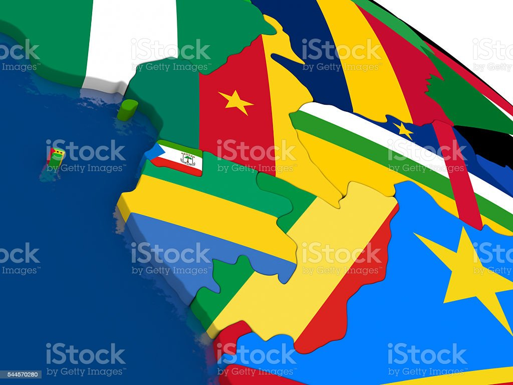 Cameroon, Gabon and Congo on 3D map with flags stock photo