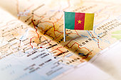Cameroon pinned on the map with flag