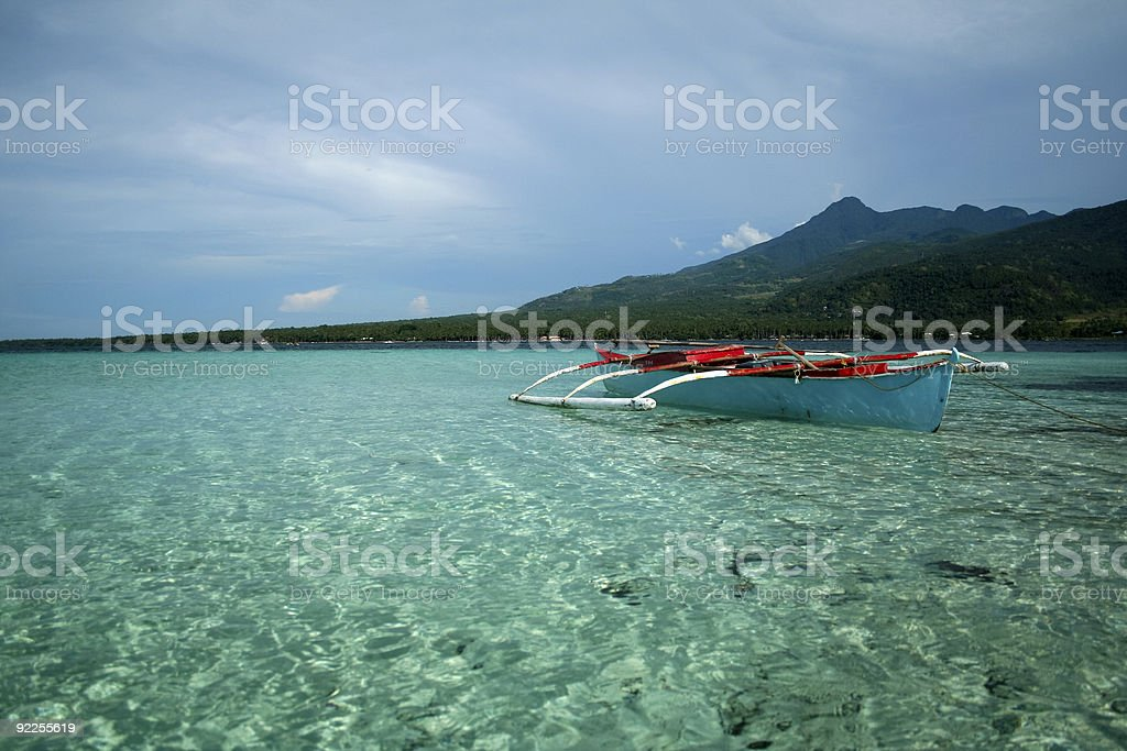 camiguin island outrigger boat philippines royalty-free stock photo