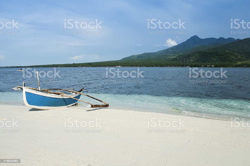 camiguin island outrigger fishing boat philippines royalty-free stock photo