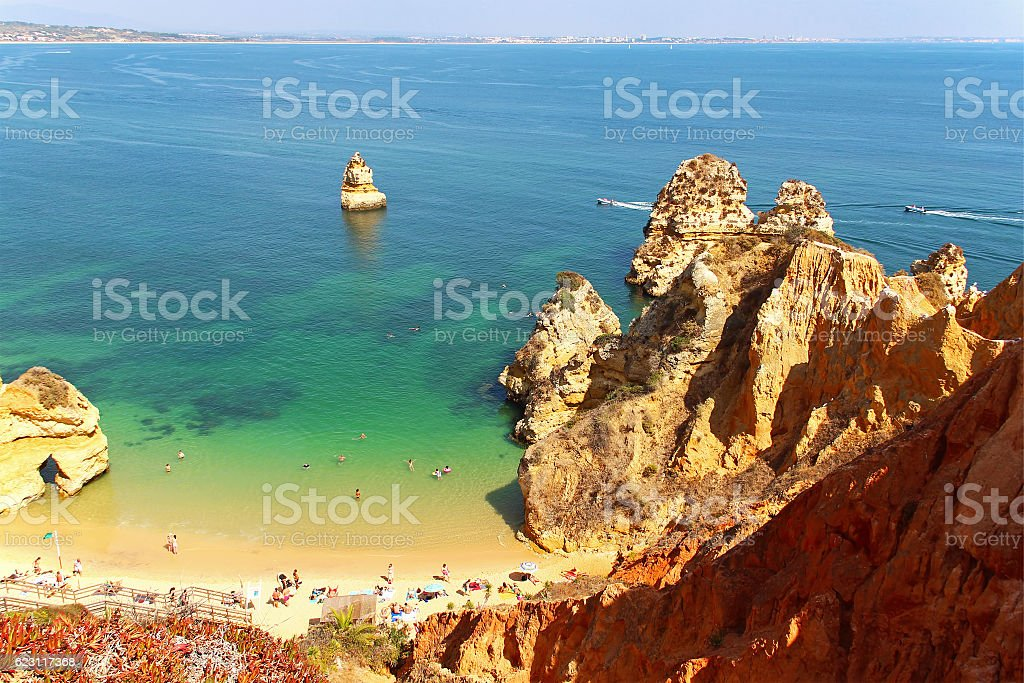 Praia do Camilo, Lagos, Portugal stock photo