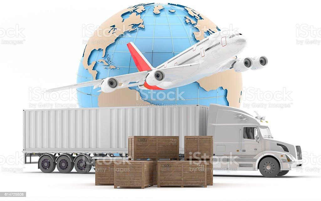 Camión americano de perfil para transporte urgente de mercancías. stock photo