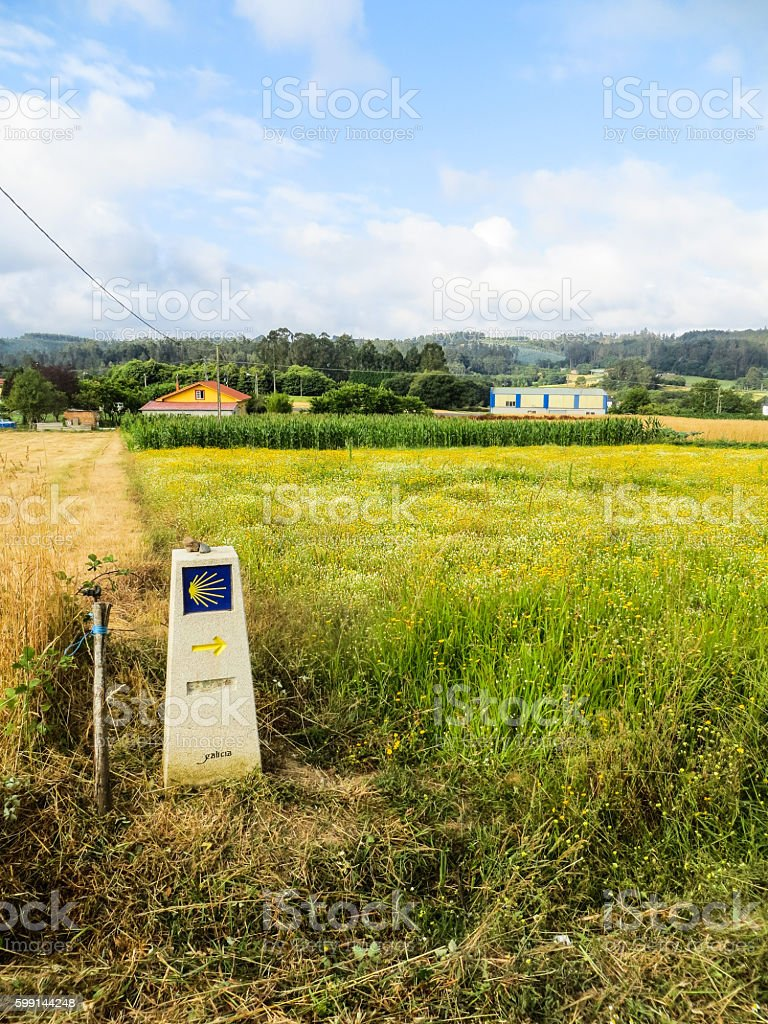 Camino di Santiago and sign on the road stock photo