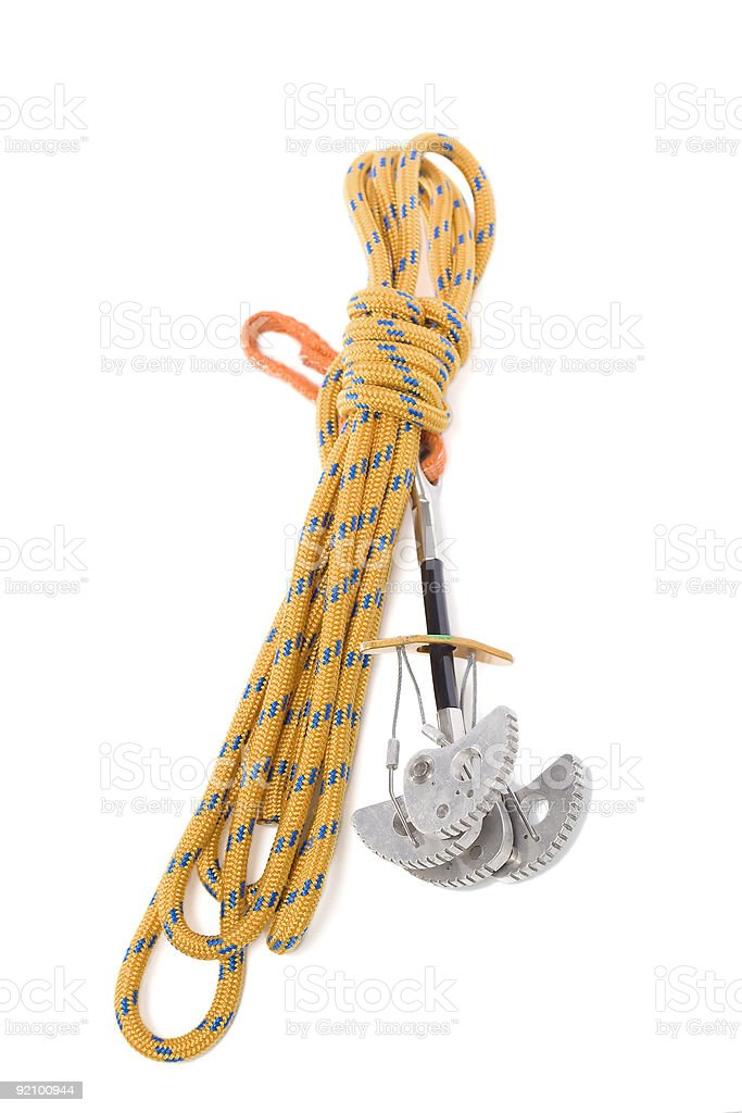Camming device for rock climbing stock photo