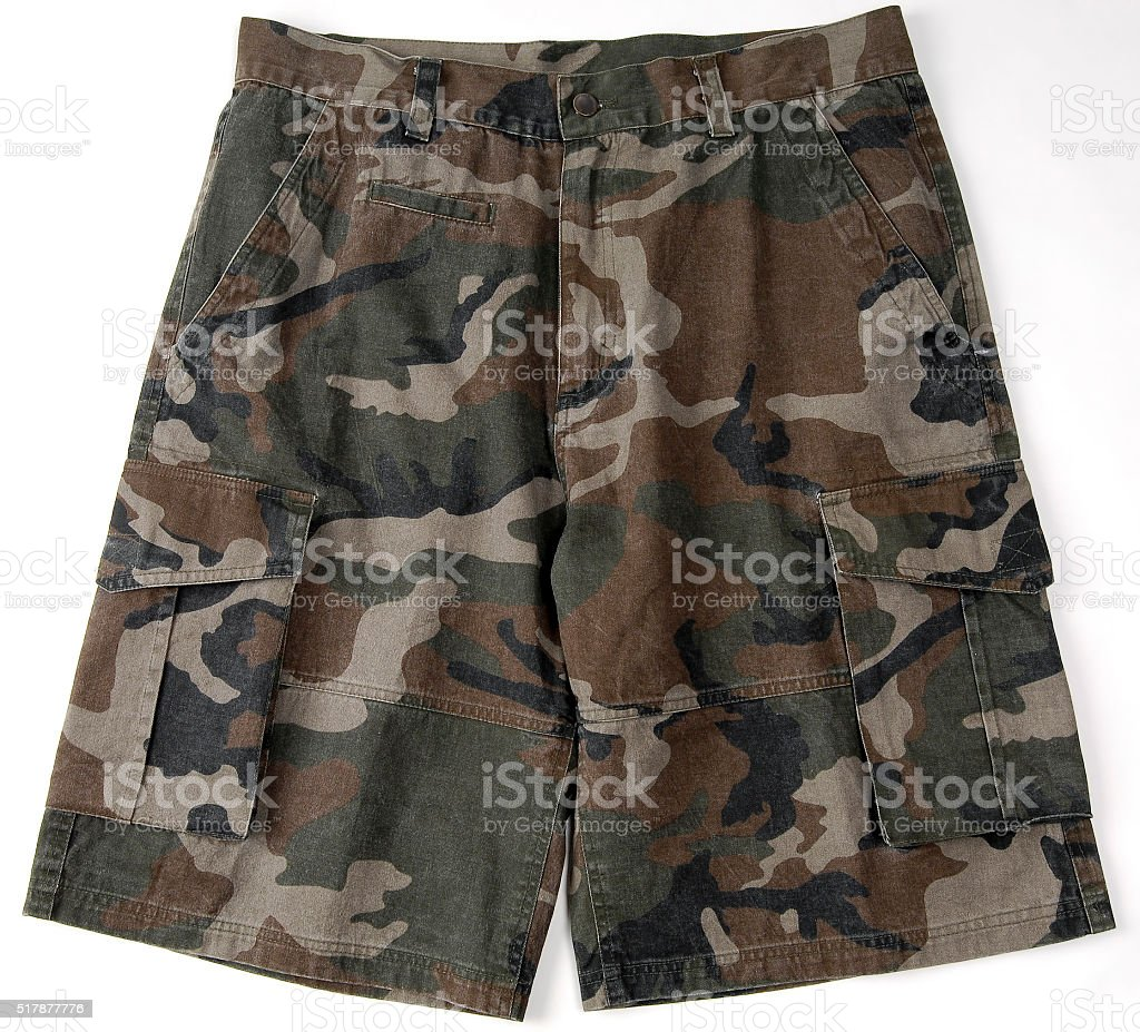 Camo cargo shorts with a belt stock photo