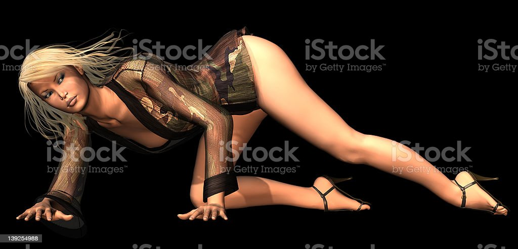 Camo pin-up Two stock photo