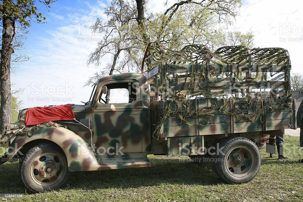 Camo troop transport stock photo