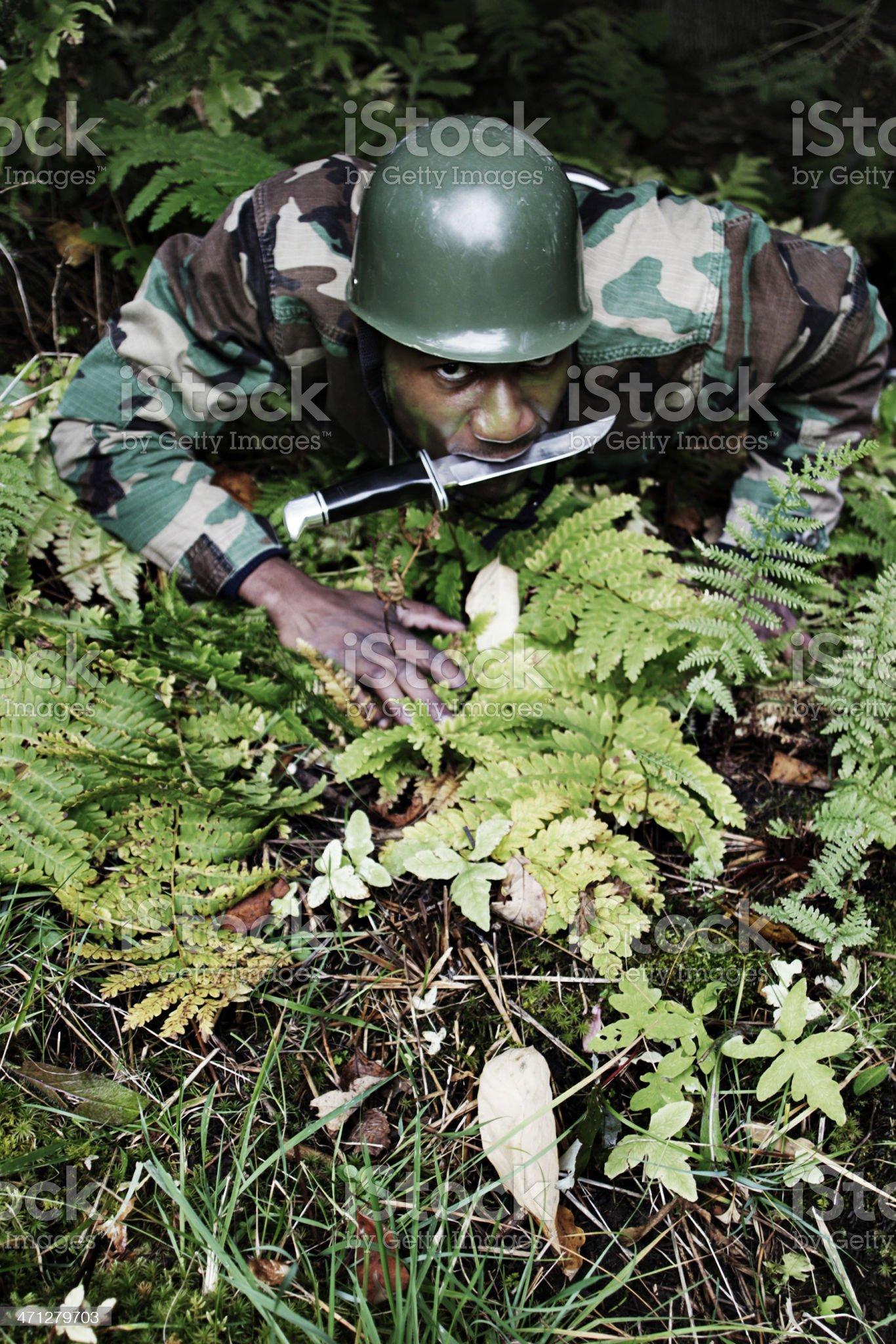 Camoflauged Army Soldier royalty-free stock photo