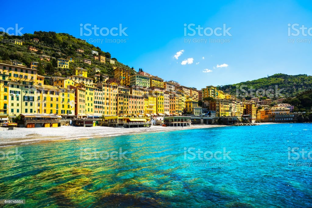 Camogli beach and typical colorful houses. Ligury, Italy stock photo