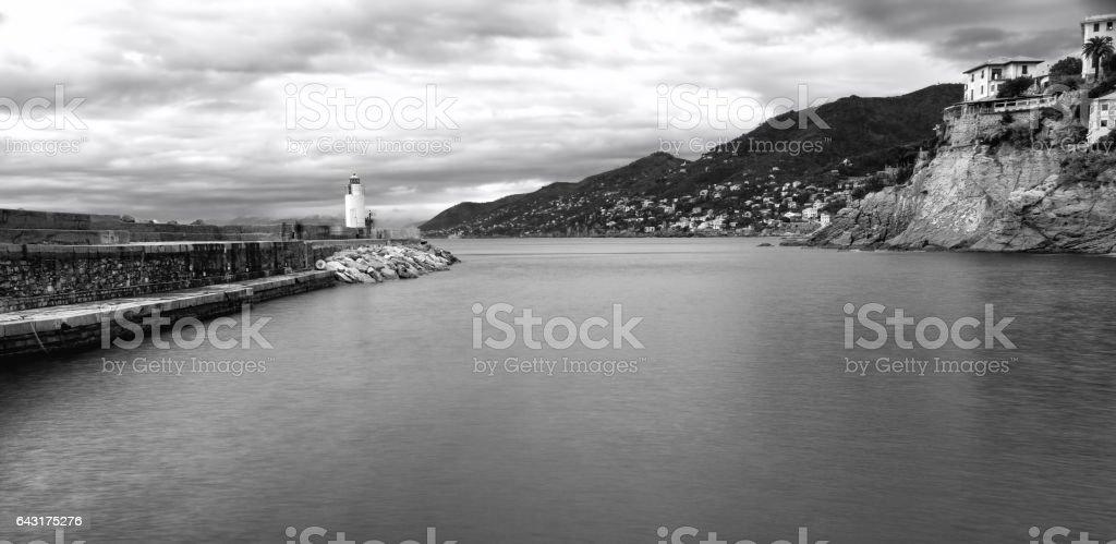 Camogli, breakwater, Black and white photo stock photo
