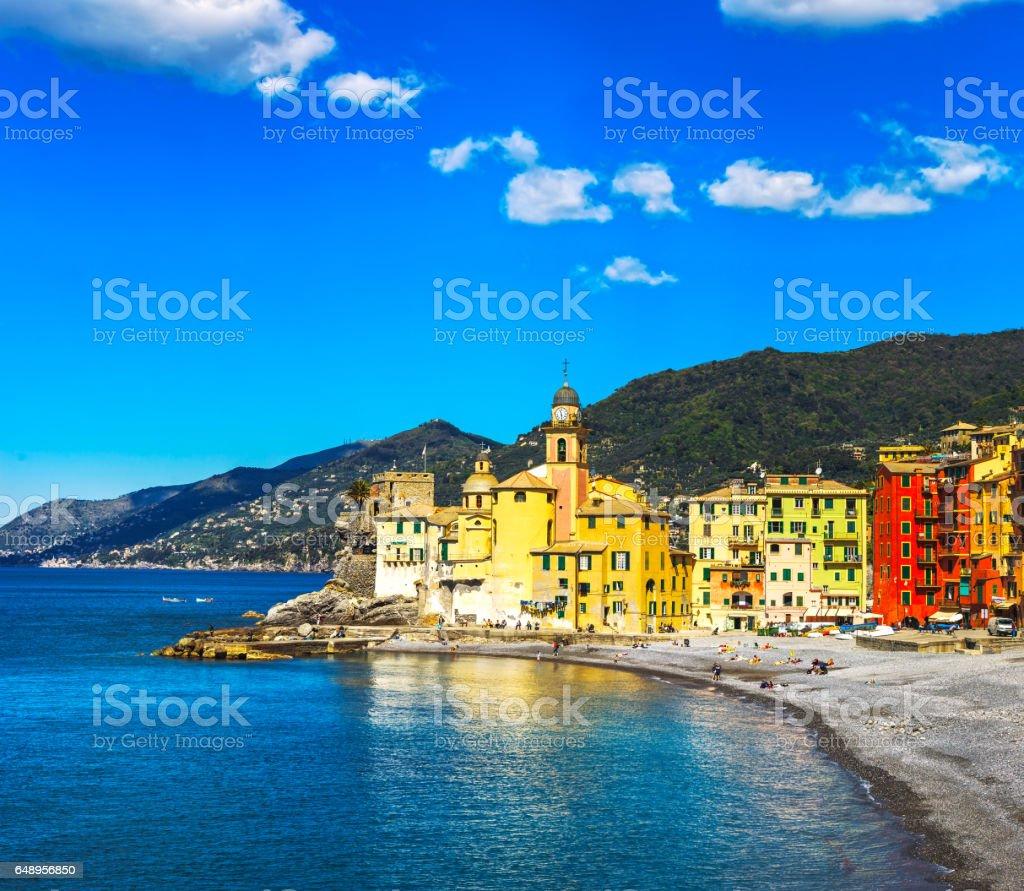 Camogli church on sea and beach view. Liguria, Italy stock photo