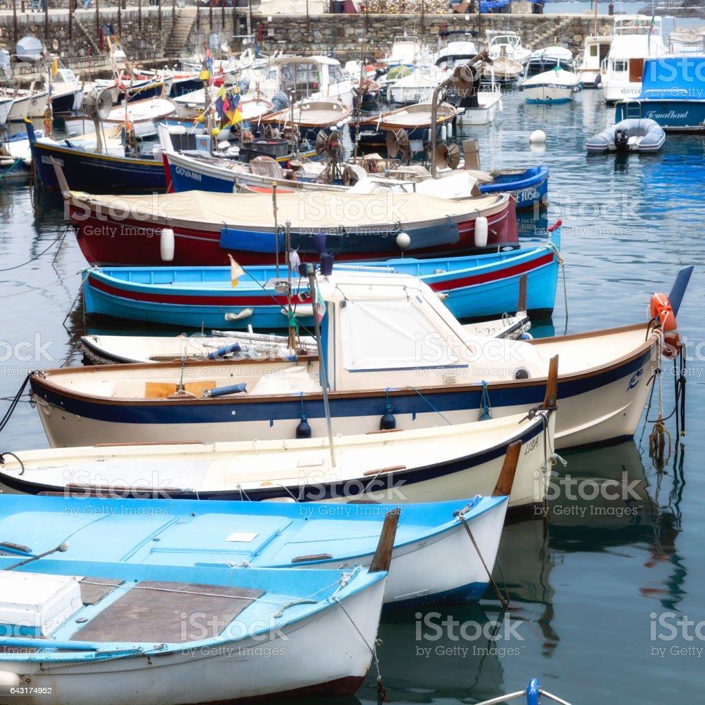 Camogli, fishing boats. Color image stock photo
