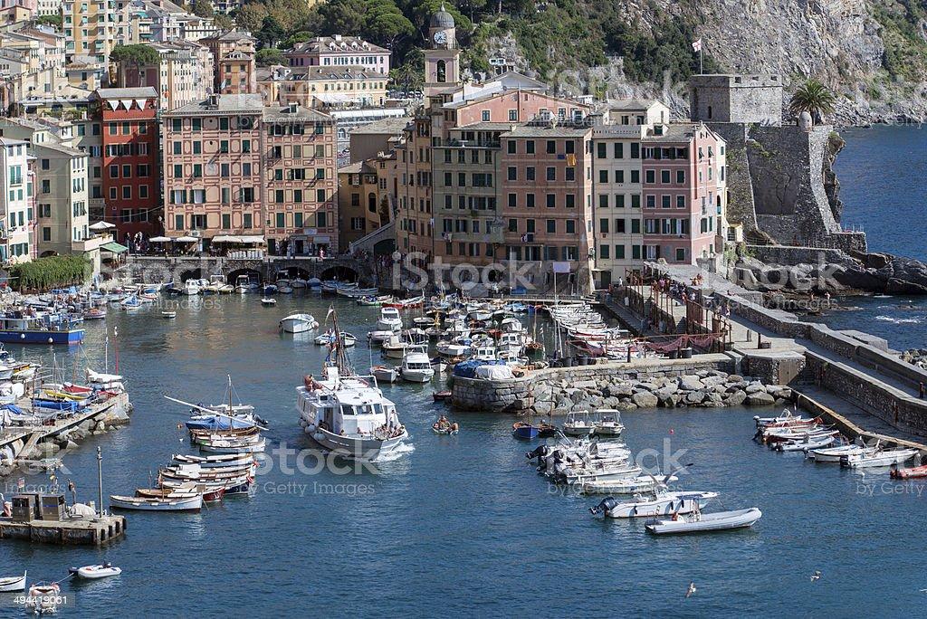 Camogli harbor in the summer royalty-free stock photo