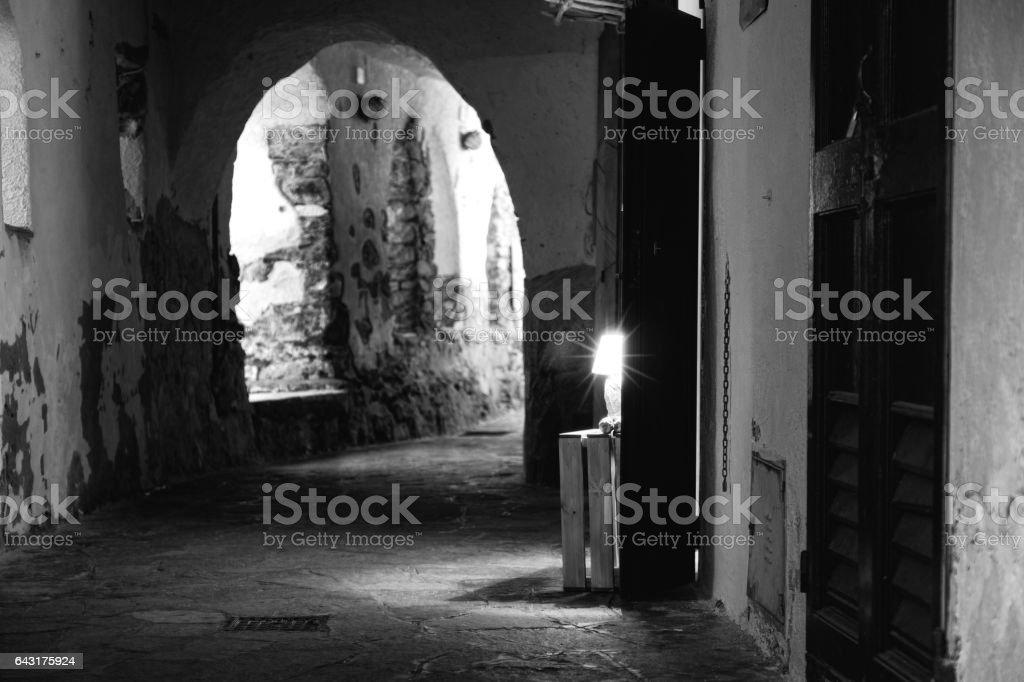 Camogli, old city centre. Black and white photo stock photo