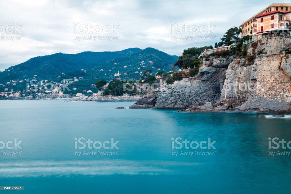 Camogli, the bay, wintertime. Color image stock photo