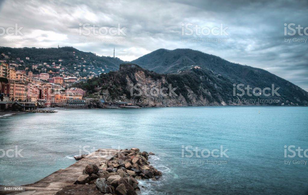 Camogli, the bay wintertime. Color image stock photo