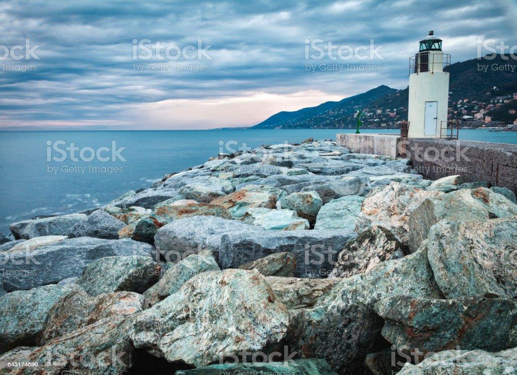 Camogli, the lighthouse. Color image stock photo