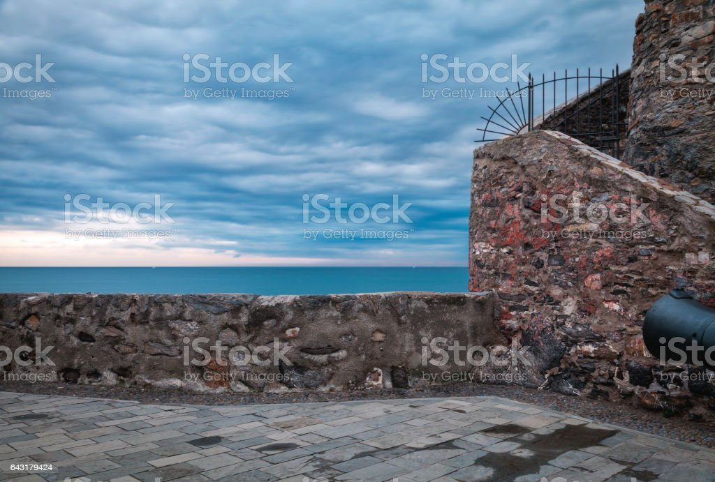 Camogli, the wall of the fortress. Color image stock photo