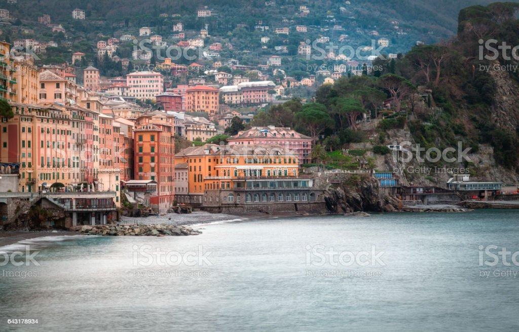 Camogli, winter city and bay view. Color image stock photo