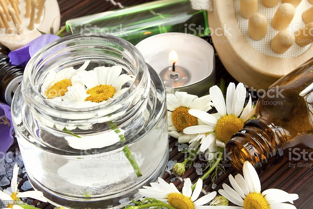 Camomile flowers essence for spa royalty-free stock photo