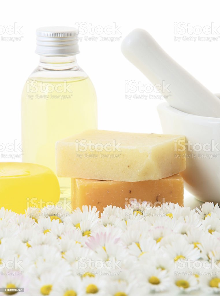 Camomile products royalty-free stock photo