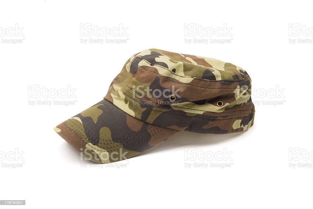 Camouflage cap isolated on white stock photo