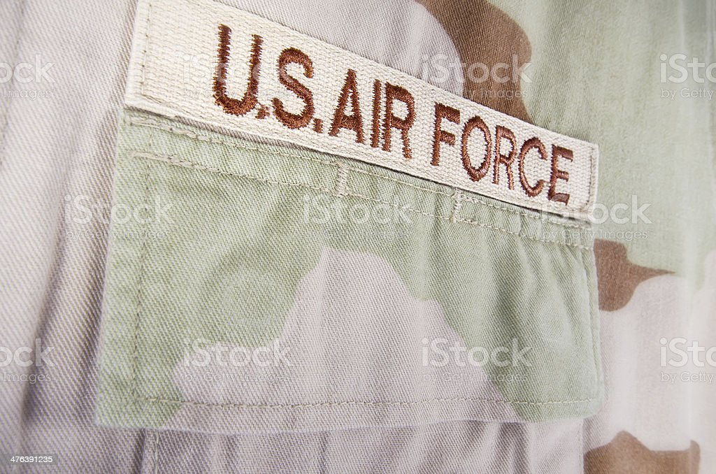 Camouflage desert uniform closeup stock photo