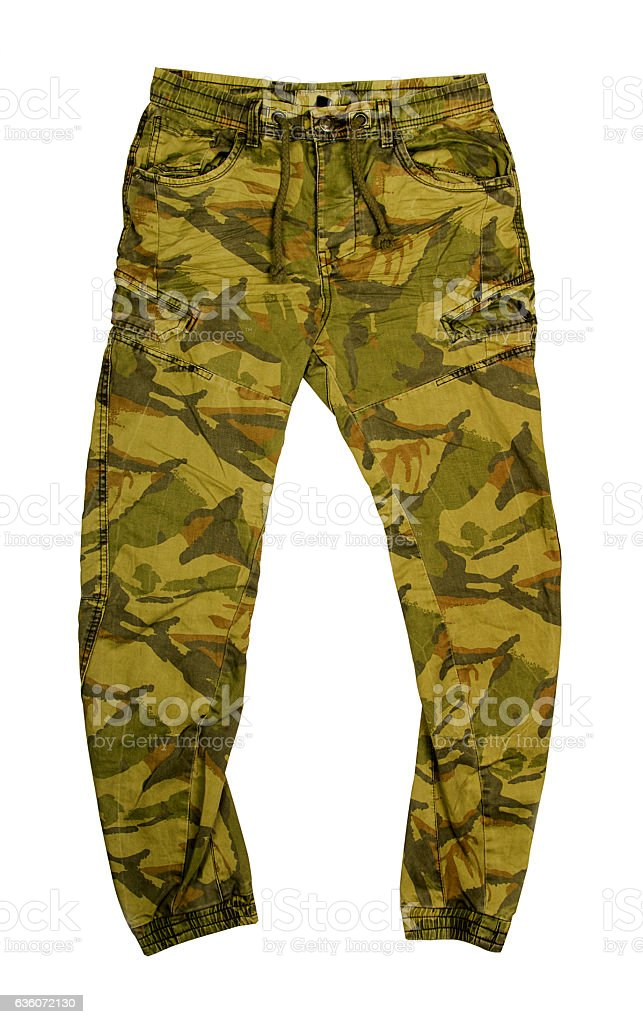 Camouflage green pants stock photo