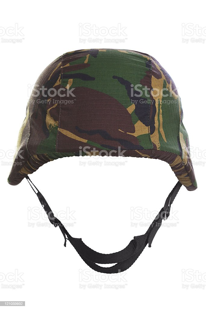 Camouflage kevlar helmet cut out stock photo