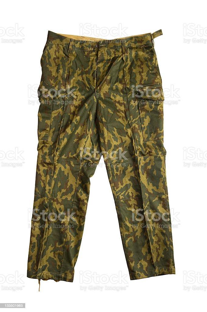 Camouflage pants on white stock photo